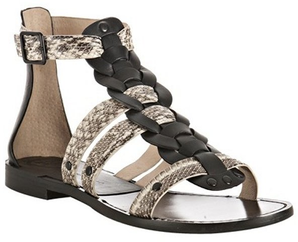 Modern Vintage black leather 'Kassandra' gladiator sandals