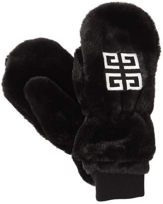 Givenchy LOGO EMBROIDERED FAUX FUR GLOVES