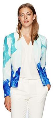 Tahari by Arthur S. Levine Women's Printed Crepe Open Jacket