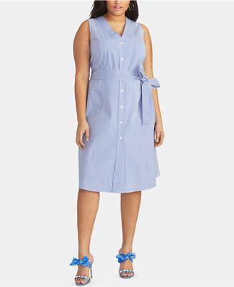 Rachel Roy Trendy Plus Size Cotton Striped Seersucker Dress