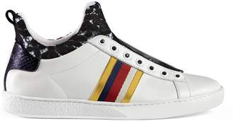 Leather and lace high top sneaker $695 thestylecure.com