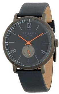 Ted Baker Logo Stainless Steel & Leather-Strap Watch