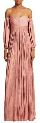 Halston Pleated Off-The-Shoulder Evening Gown