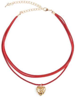 Riah Fashion Heart Pendant Suede Choker