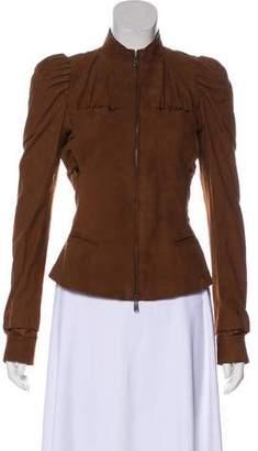 Saint Laurent Suede Ruffle-Trimmed Jacket
