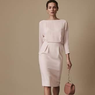 Reiss Hannie - Chiffon-top Shift Dress in Shell