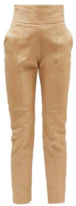 Alexandre Vauthier High Rise Leather Trousers - Womens - Beige