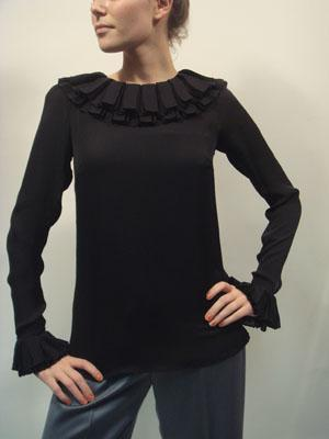 ALEXANDRA VIDAL black long sleeve ruffle collar top