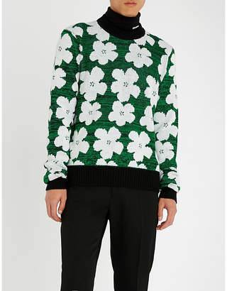 Calvin Klein Floral-patterned wool and alpaca-blend jumper
