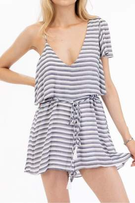 Olivaceous Striped Flirty Romper