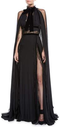 Elie Saab Long Crepe Georgette Cape Evening Gown w/ Lace & Velvet Details