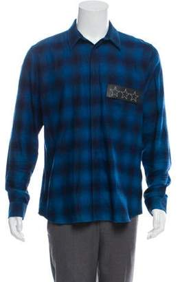 Givenchy Leather-Accented Plaid Shirt blue Leather-Accented Plaid Shirt