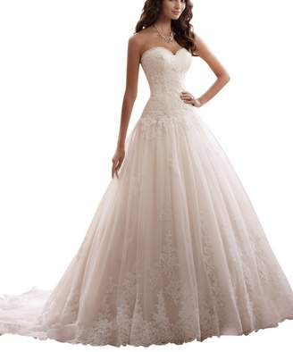 JoyVany Lace Elegant A-line Sweetheart Appliqued Tulle Bridal Wedding Dress 2016