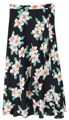 MANGO Floral wrapped skirt