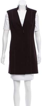 Akris Leather-Trimmed Wool Vest