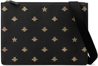 Gucci Bee Star leather messenger