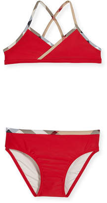 Burberry Crosby Cross-Back Two-Piece Swimsuit, Red, Size 4-14
