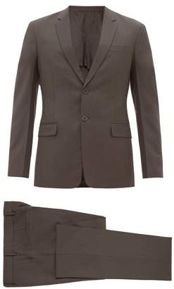 Prada Single Breasted Wool Blend Suit - Mens - Dark Grey