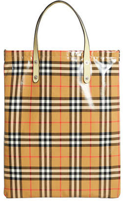 Burberry Coated Vintage Check Medium Shopper Tote Bag