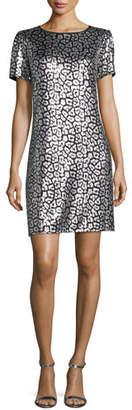 MICHAEL Michael Kors Short-Sleeve Sequined Tulle Shift Dress