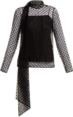 Erdem Yvonne Polka Dot Flocked Silk Tulle Blouse - Womens - Black