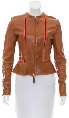 Gianfranco Ferre Collarless Leather Jacket
