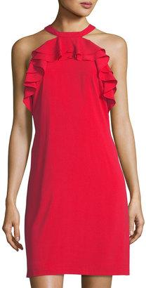 Julia Jordan Ruffle-Trim Halter Shift Dress $119 thestylecure.com