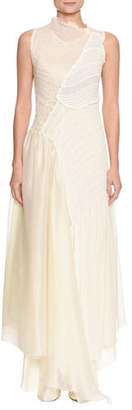 Jil Sander Effervescent Sleeveless Mixed-Media Collage Dress with Asymmetric Hem