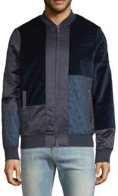 Scotch & Soda Mix Panel Cotton Bomber Jacket