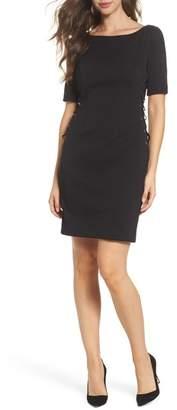 Adrianna Papell Micro Ottoman Lace-Up Sheath Dress