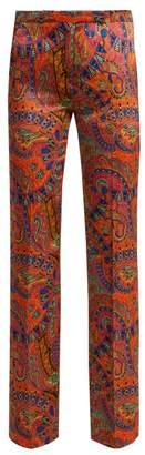 Etro Fuji Paisley Print High Rise Satin Trousers - Womens - Pink Multi