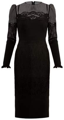 Dolce & Gabbana High Neck Lace And Tulle Dress - Womens - Black