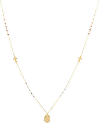 FINE JEWELRY Religious Jewelry Womens Black Crystal 14K Gold Cross Pendant Necklace