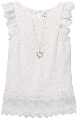 Beautees Lace Flutter Sleeve Top (Big Girls)