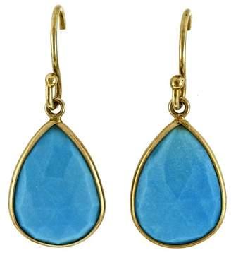 14K Yellow Gold with Sleeping Beauty Turquoise Dangle Earrings