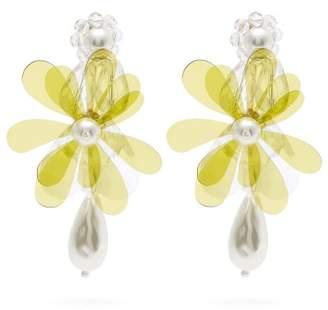 Simone Rocha Beaded Flower Drop Earrings - Womens - Green
