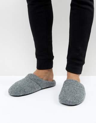 Asos DESIGN Slip On Slippers In Gray Marl