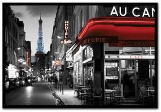 Rue Parisienne Paris Street Poster Magnetic Notice Board Black Framed - 96.5 x 66 cms (Approx 38 x 26 inches)