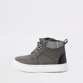 River Island Mini boys grey lace-up boots