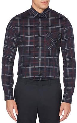 Perry Ellis Plaid Regular-Fit Button Down Shirt