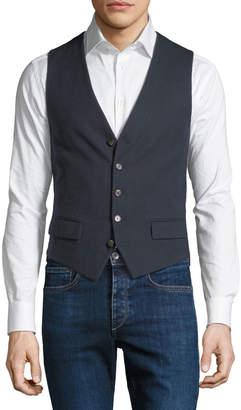 Stefano Ricci Men's Waxed Cotton Gilet Vest with Leather Details