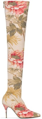 Zimmermann floral 100mm over-the-knee boots
