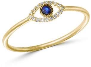 Meira T 14K Yellow Gold Evil Eye Blue Sapphire & Diamond Ring