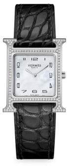 Hermes Heure H PM Diamond, Stainless Steel& Alligator Leather Strap Watch