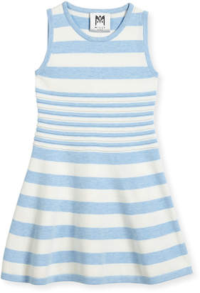 Milly Minis Striped Knit Flare Dress, Blue/White, Size 4-7