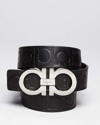 Salvatore Ferragamo Gamma Embossed Leather Double Gancini Belt