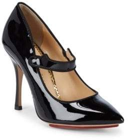 Charlotte Olympia Point Toe Leather Mary Jane