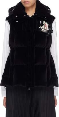 Simone Rocha Moncler Genius x 'Jane' hooded quilted velvet gilet