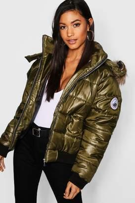 boohoo Faux Fur Trim Cire Puffer Jacket