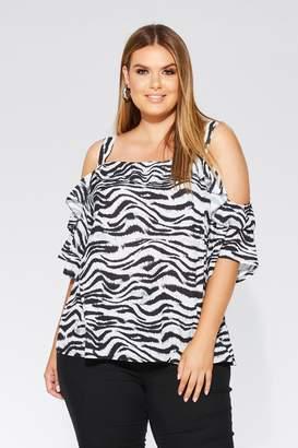 4352f10174d68 Quiz Curve Black And Grey Zebra Print Cold Shoulder Top